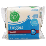 Food Club Swiss Pasteurized Process Cheese Food Singles
