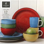 Gibson Dinnerware Set, Handpainted Stoneware, Color Vibes, 12 Piece