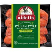 Aidells Smoked Chicken Sausage, Italian Style with Mozzarella Cheese, Twin Pack