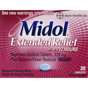 Midol Pain Reliever/Fever Reducer, Extended Relief, 220 mg, Caplets