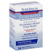 Pure Touch Moist Wipes, Flushable, Individual, Single Use Packets
