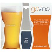 govino Beer Glasses, Shatterproof, 16 Ounce