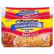 Maruchan Souper 6 Pack Beef Flavor Ramen Noodle Soup
