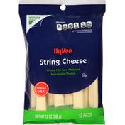 Hy-Vee String Cheese, Whole Milk, Mozzarella, Low-Moisture