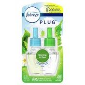 Febreze Odor-Eliminating Fade Defy PLUG Air Freshener Morning & Dew