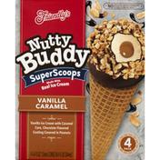 Friendly's Ice Cream Cones, Nutty Buddy, Vanilla Caramel, 4 Pack
