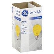 GE Light Bulb, Party Light, Yellow, 25 Watts