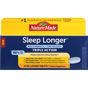 Nature Made Sleep Longer, Max Strength, Triple Action, Tablets