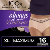 Always Discreet Boutique High-Rise Incontinence Underwear Size Xl