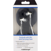 Mobilcharge Earbuds, with Mic & Carrying Case, Box