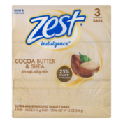 Zest Indulgence Ultra-Moisturizing Beauty Bars Cocoa Butter & Shea