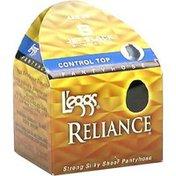 Leggs Pantyhose, B, Jet Black, Control Top, Enhanced Toe