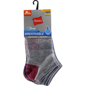 Hanes Socks, Breathable, No Show, Extended Size, 8-12, Women's