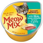 Meow Mix Savory Morsels with Real Ocean Whitefish & Tuna in Gravy Wet Cat Food