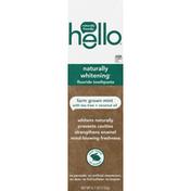 hello Toothpaste, Fluoride, Farm Grown Mint With Tea Tree + Coconut Oil