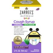 Zarbee's Naturals Baby Cough Syrup + Immune with Agave, Natural Grape Flavor
