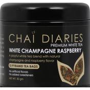Chai Diaries White Tea, Premium, White Champagne Raspberry, Pyramid Tea Bags