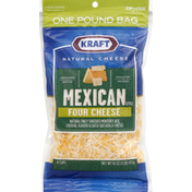 Kraft Finely Shredded Cheese, Mexican Style, Four Cheese
