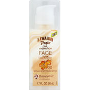 Hawaiian Tropic Sunscreen, Oil Free Lotion, Face, Broad Spectrum SPF 30