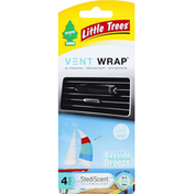Little Trees Air Freshener, Bayside Breeze, Vent Wrap, 4 Pack