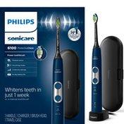 Philips Sonicare ProtectiveClean 6100 Whitening Rechargeable electric toothbrush with pressure sensor and intensity settings, Navy Blue HX6871/49