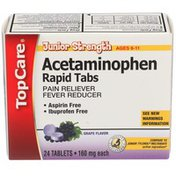 TopCare Junior Strength Acetaminophen 160 Mg Pain Reliever/fever Reducer Rapid Tablets, Grape