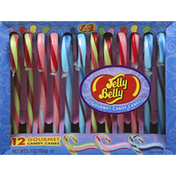 Jelly Belly Candy Canes, Gourmet, Watermelon/Tutti-Fruitti/Blueberry