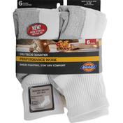 Dickies Socks, White, Dri-Tech Quarter, Men's