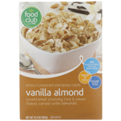Food Club Vanilla Almond Sweetened Crunchy Rice & Wheat Flakes Cereal With Almonds
