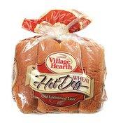 Village Hearth Hot Dog Buns, Wheat, Sliced