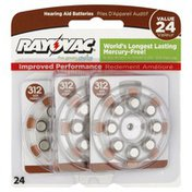 Rayovac Batteries, Hearing Aid, Size 312, Value