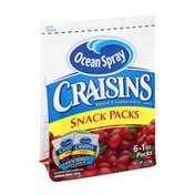 Ocean Spray Craisins Dried Cranberry Snack Packs - 6 CT