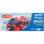 Our Family Double Zipper Resealable Freezer Quart Bags