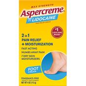 Aspercreme Foot Pain Creme, with 4% Lidocaine, Odor Free