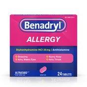 Benadryl Ultratabs Antihistamine Allergy Medicine, Diphenhydramine Hcl Tablets