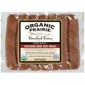 Organic Prairie Hot Dogs Uncured Frozen 7 ct Beef