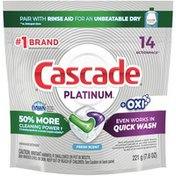 Cascade Platinum + Oxi Actionpacs Dishwasher Detergent Pods, Fresh