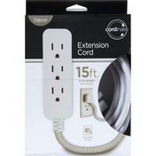 Cordinate Extension Cord, Flat Plug, 3 Grounded Outlets, 15 FT