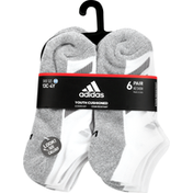 adidas Youth Cushioned Angle Stripe No-Show Socks – 6 Pack - M - White/White