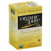 Pure Organic Tea, White, Lemongrass Ginger, Organic, 18 Bags, Box