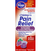 Kroger Pain Relief, Children's, Oral Suspension, Grape Flavor