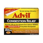 Advil Congestion Relief Non-Drowsy Coated Tablets - 20 CT.