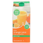 Food Club Grove Style 100% Orange Juice From Concentrate With Pulp