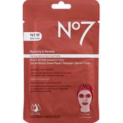 No7 Sheet Mask, Serum Boost, Face & Neck Multi Action, Restore & Renew
