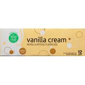 Food Club Soda, Vanilla Cream, Caffeine Free, 12 Pack