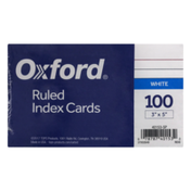Oxford Ruled Index Cards White