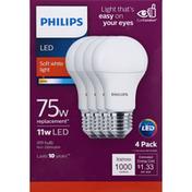 Philips Light Bulbs, LED, Soft White Light, 11 Watts, 4 Pack