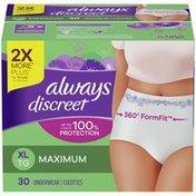 Always Discreet For Sensitive Skin Postpartum Incontinence Underwear Xl Maximum