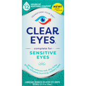 Clear Eyes Lubricant/Redness Reliever Eye Drops, Sensitive Eyes