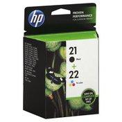HP Ink Cartridges, Black 21, Tri-Color 22, Combo-Pack